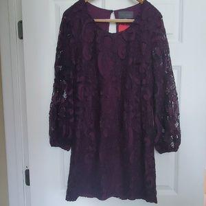 Deep Eggplant Purple Lace Bubble Sleeve Dress NWT
